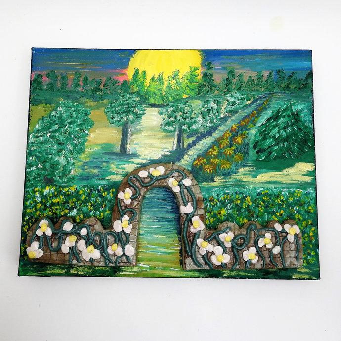 Original Art Work, A Ceramic Garden Gate Entrance To A Painted Garden On A