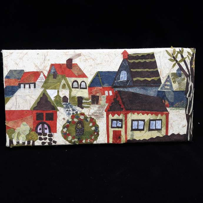 """Original Art Work, Abstract Japanese Paper Art Of A Town On A Canvas, 12"""" x 6"""""""