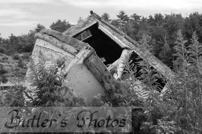 Boat Photograph, Nautical Art Print, Black And White Photo,  Abandoned Old Boat