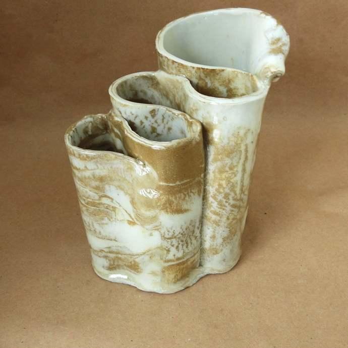 Toothbrush Holder, Pottery Makeup Brush Holder, Ceramic Pencil Holder, Handmade