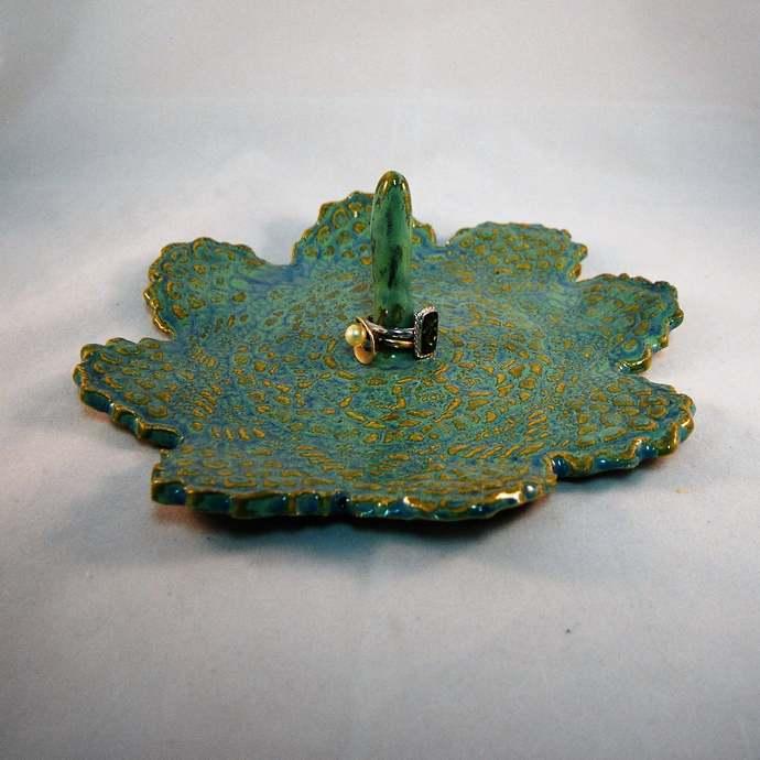 Ring Dish, Trinket Dish, Jewellery Storage, Mint Green Dish With Centre Post,