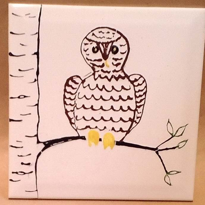 Ceramic Tile, Owl Design Wall Tile, Hand Painted Owl Sitting in a Tree, Yellow