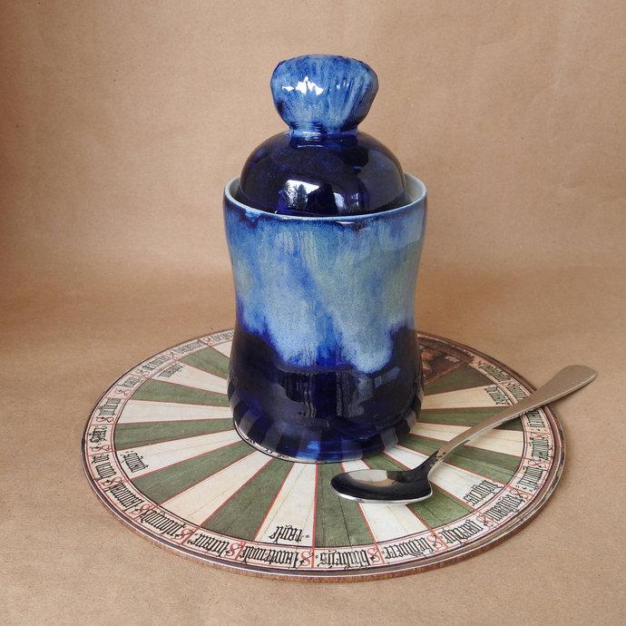 Sugar Bowl, Jam Jar, Q-Tip Jar, Condiment Jar, Handmade Pottery Jar, Bathroom