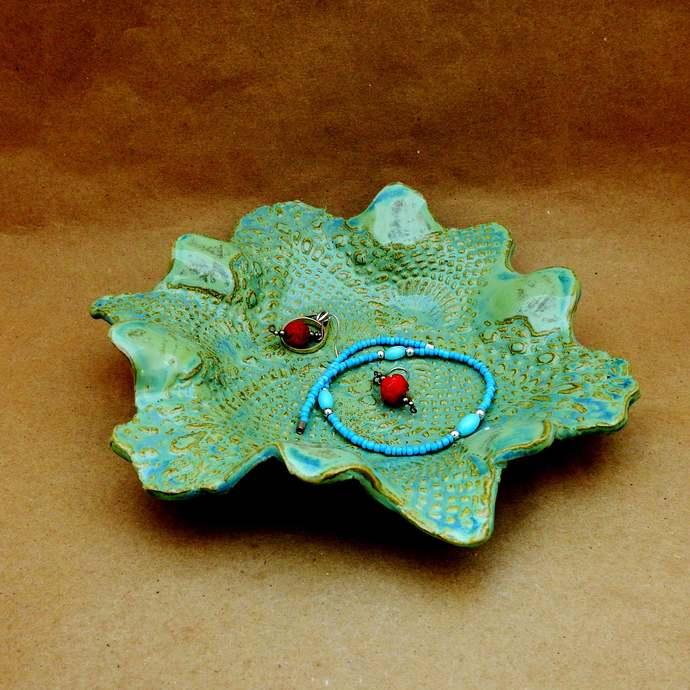 Ring Dish, Trinket Dish, Lime Green Lace Dish, Stoneware Pottery,  Decorative