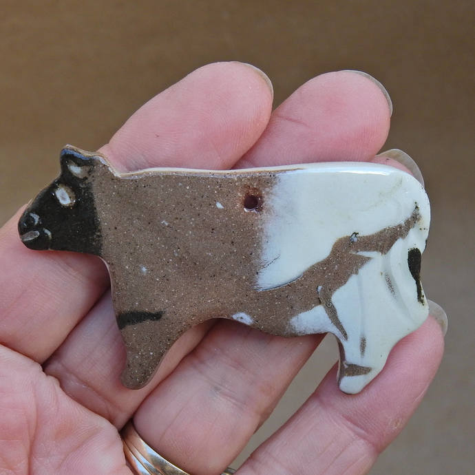 ONE Cow Christmas Tree Ornaments, Pottery Cow Decor, Holiday Decoration, Pottery