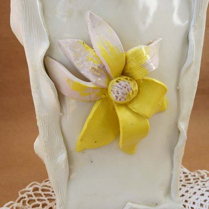 White Porcelain Vase With Yellow Flowers,  Handmade Pottery, Wedding Gift,