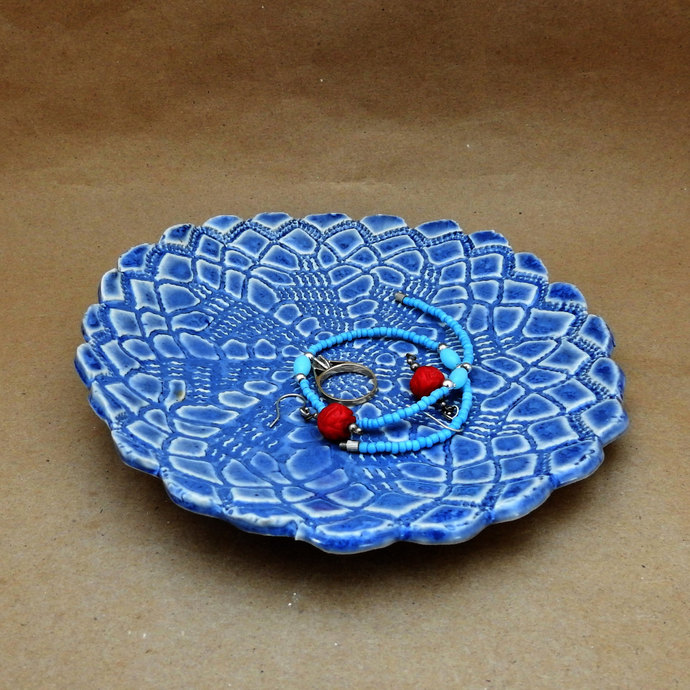 Blue Ring Dish, Trinket Dish, Jewellery Holder, Ring Catcher, Doily Design