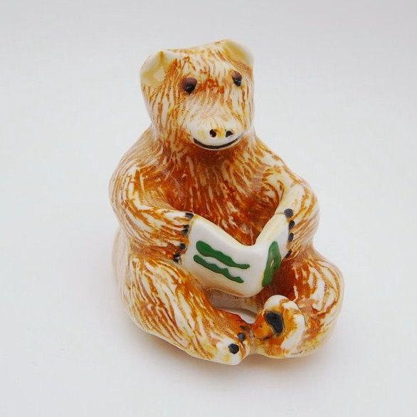 Ceramic Animal, Bear Sculpture, Bear Reading A Book, Handmade and Hand Painted