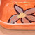 Orange Soap Dish, Condiment Dish, Shallow Bowl, Hand Painted Flowers On Dish,