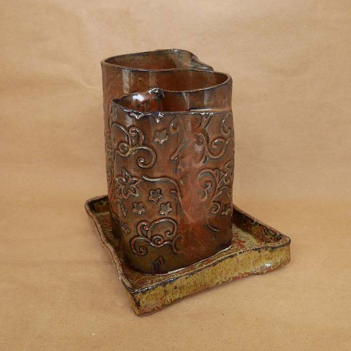 Toothbrush Holder, Rusty Red Floral Design Toothbrush Holder, Handmade Pottery