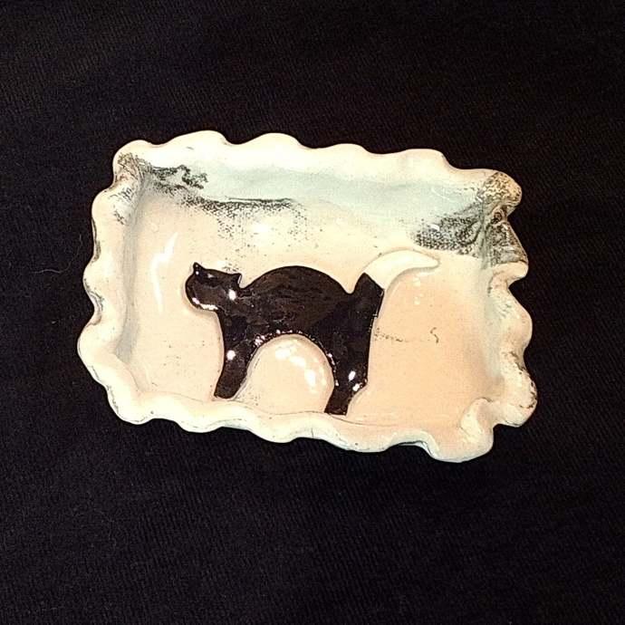 Ceramic Black Cat Soap Dish,  Butter Dish, Candy Dish, Dip Dish, Condiment
