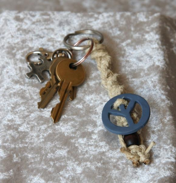 OOAK Chunky hemp key fob with clay peace sign - TPA