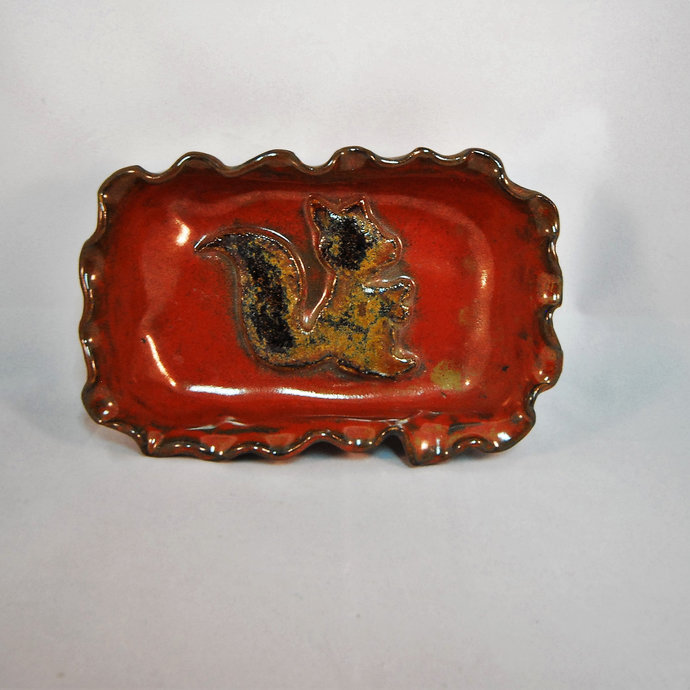 Ring Dish, Ceramic Brown Squirrel Soap Dish,  Butter Dish, Candy Dish, Dip Dish,