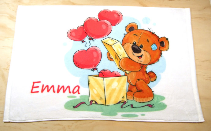 Personalized printed  kids hand towel with bear with box and hearts