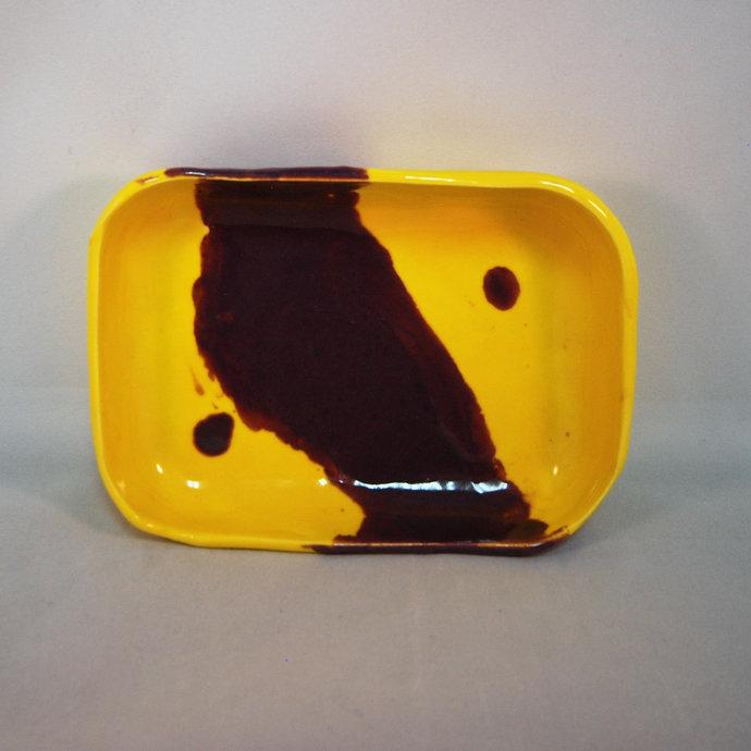 Yellow & Purple Soap Dish, Ring Holder, Condiment Dish, Chutney Dish, Relish