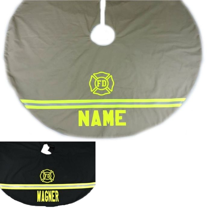 Personalized Firefighter Christmas Tree Skirt, Firefighter Gift for Him, Fire