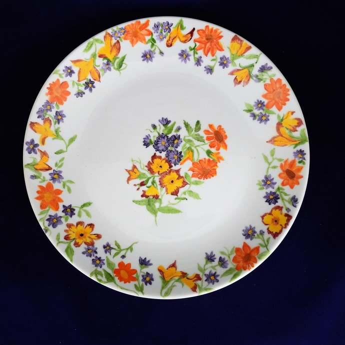 Decorative Dinner Plate, Hand Painted Orange, Blue & Yellow Flowers, Porcelain