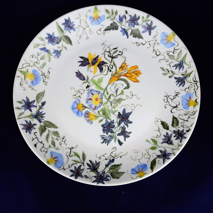 Decorative Dinner Plate, Hand Painted Blue Morning Glories & Yellow Flowers,