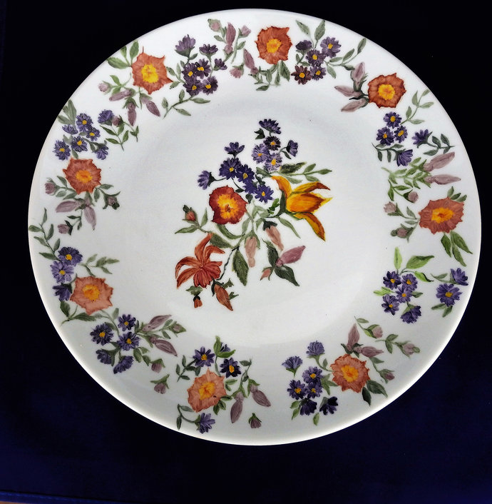 Cake Plate, Hand Painted Ceramic Garden Flowers Plate, Porcelain Serving Plate,