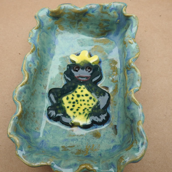 Frog Soap Dish, Butter Dish, Snack Dish, Candy Dish, Ring Dish, Cute Frog With