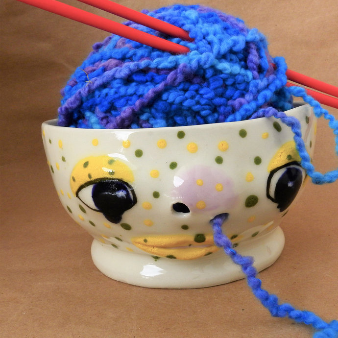 Yarn Bowl, Pottery Snot Nose Yarn Bowl, Speckled Cute Funny Face, Ceramic Funky