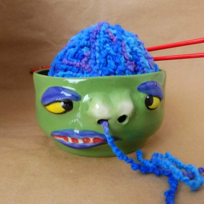 Yarn Bowl, Pottery Snot Nose Yarn Bowl, Funny Face, Ceramic Funky Wymisical Yarn