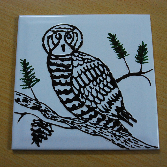 Ceramic Wall Tile, Hand Painted Owl, Wall Hanging Tile,  Kitchen Back Splash,