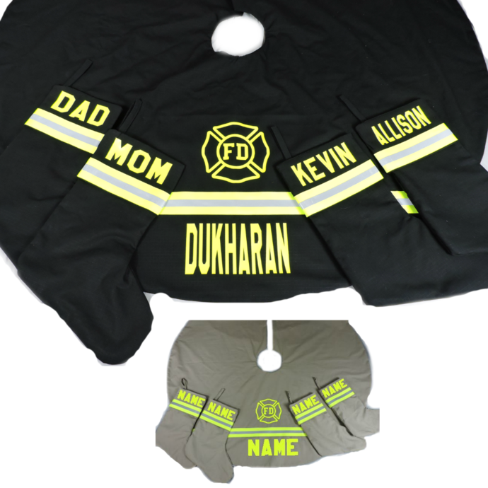 Copy of Personalized Firefighter Christmas Tree Skirt and 4 Christmas Stockings,