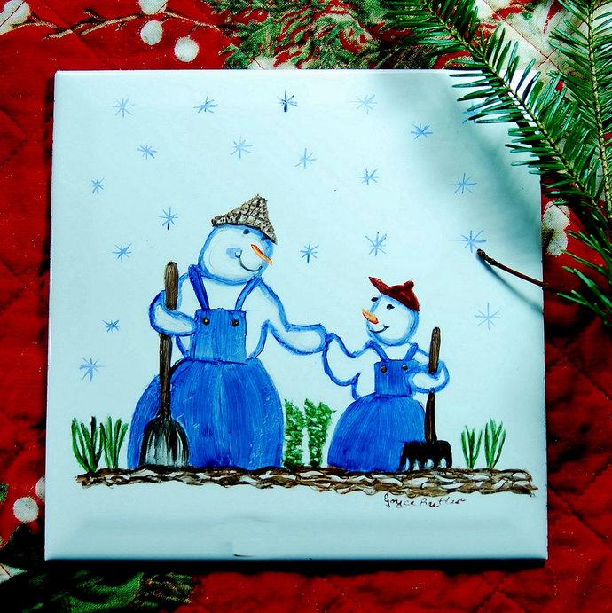 Winter Scene, Dad And Son Snowman Gardener, Ceramic Tile, Whimsical trivet,