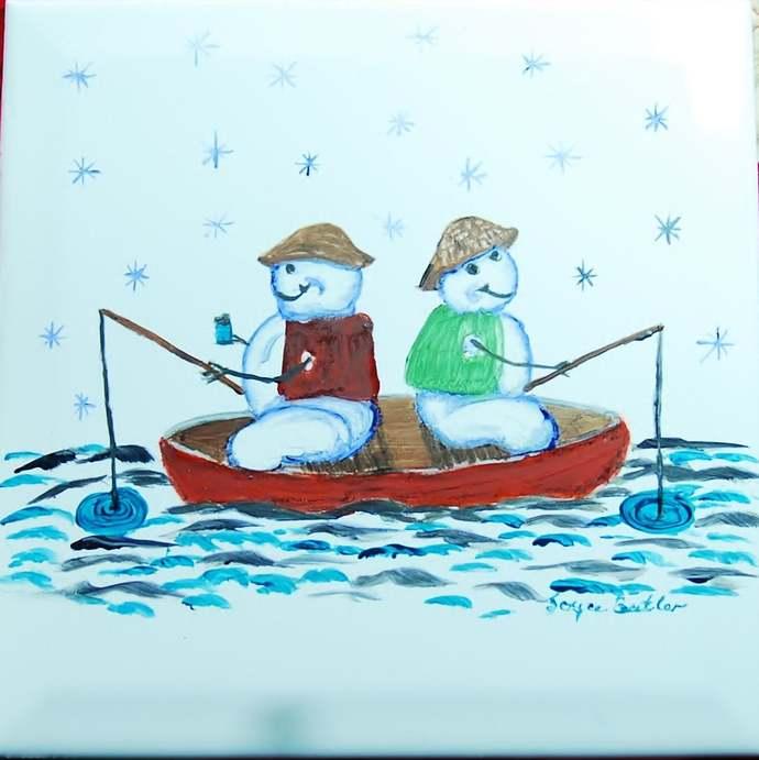 Ceramic Tile,  Hand-Painted Wall Tile Art, Trivet, Fishing Snowman, Use For