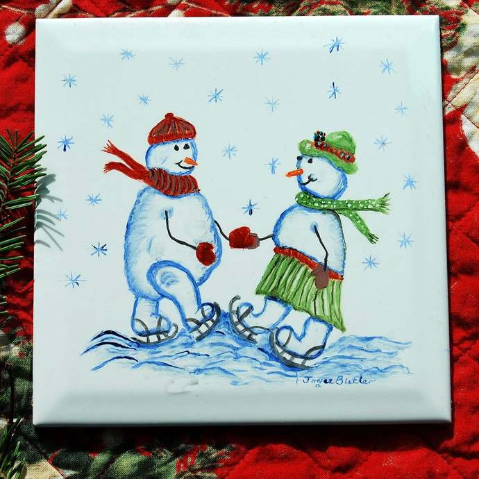 Ceramic Tile, Snowman Skaters, Hand-Painted Porcelain Tile, Ceramic Trivet, Wall