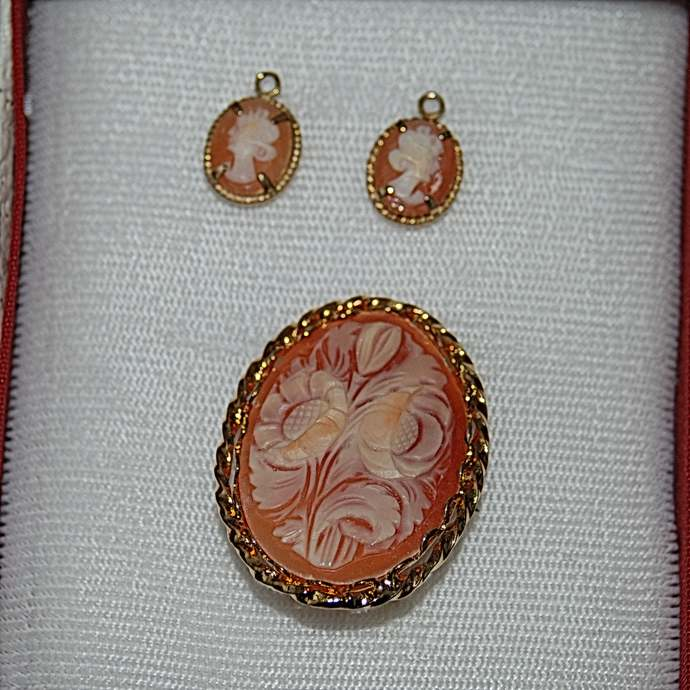 Vintage Pink Flower Signed Amsel Gold Filled Brooch & Lady Cameo Earrings,  Pink