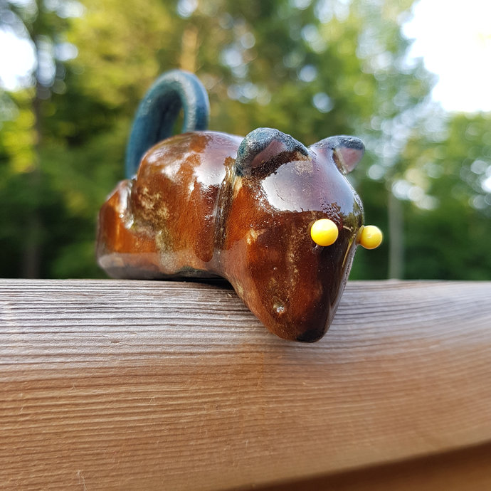 Pottery Sculpture, Sitting Mouse Figurine, Small Shelf Sitter Mouse,  Home Decor