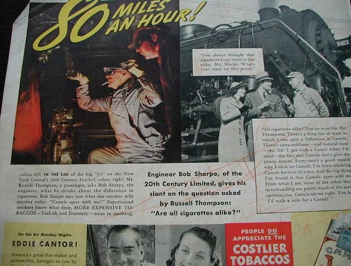 1939 Life Magazine Ad-Camel Cigarettes, Twentieth Century Limited Train