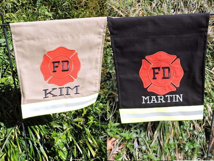 Personalized  Firefighter Garden Flag, Firefighter Gift, Fire Department, Tan or