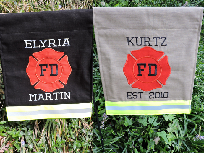 Personalized two line Firefighter Garden Flag, Firefighter Gift, Fire