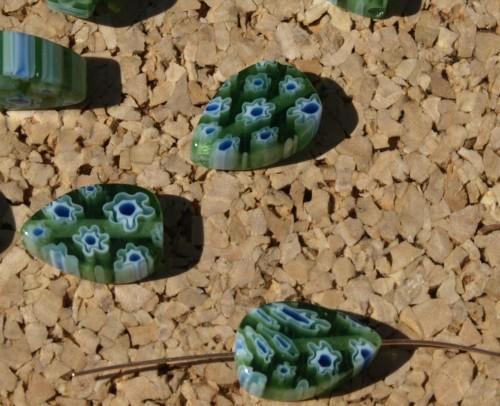 Green Teardrop Millefiori Beads