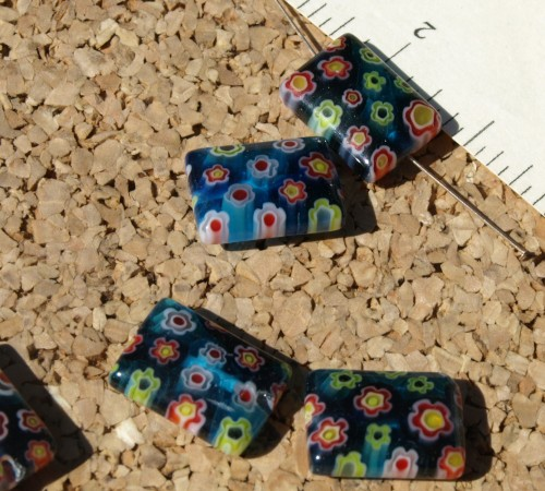 Blue Rectangle Millefiori Beads
