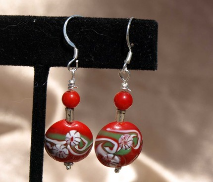 Red and Green Candy Disk Earrings