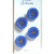 Blue Glass Buttons with Gold Luster 2792-8 Vintage 1950s