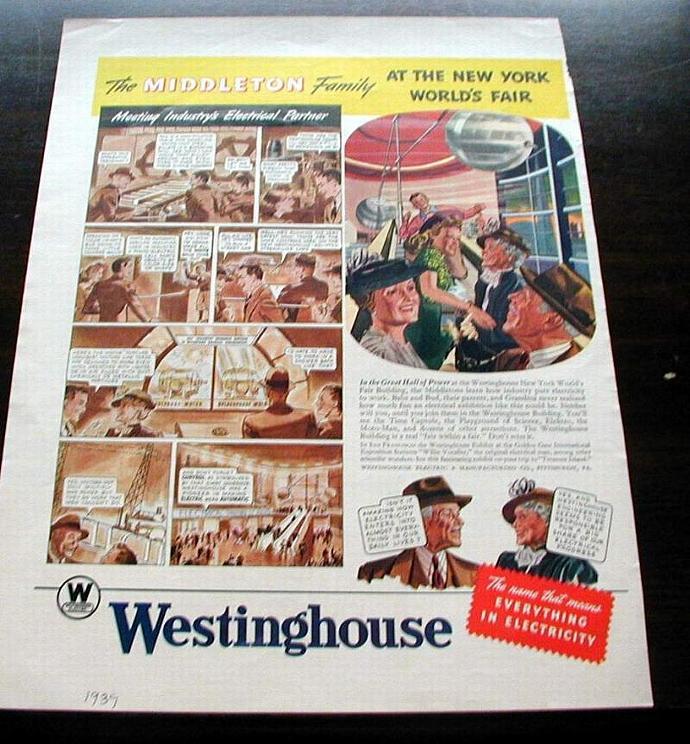 1939 Life Magazine Ad. New York World's Fair. Westinghouse