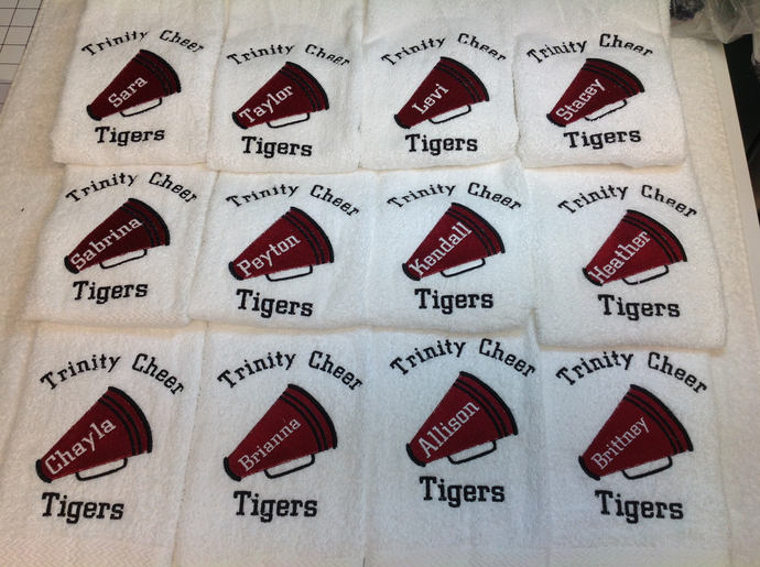 Custom Cheer Towel with personalized Embroidery.