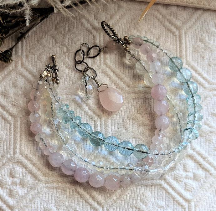 One of a Kind Sterling Silver Rose Quartz & Crystal Multi Strand Bracelet