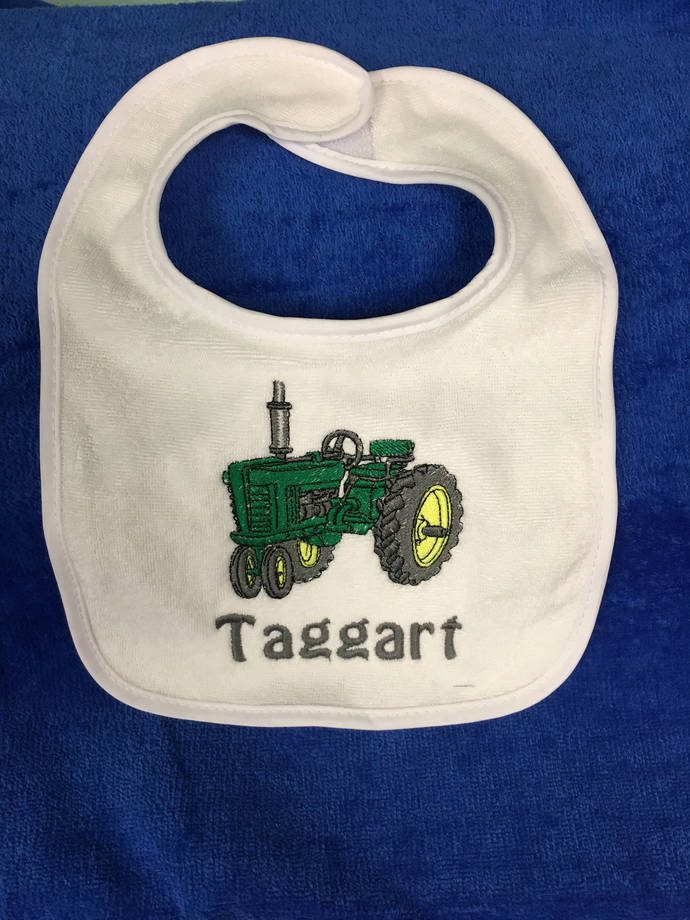Tractor bib or burp cloth, tractor, monogram, Baptism bib, Personalized baby
