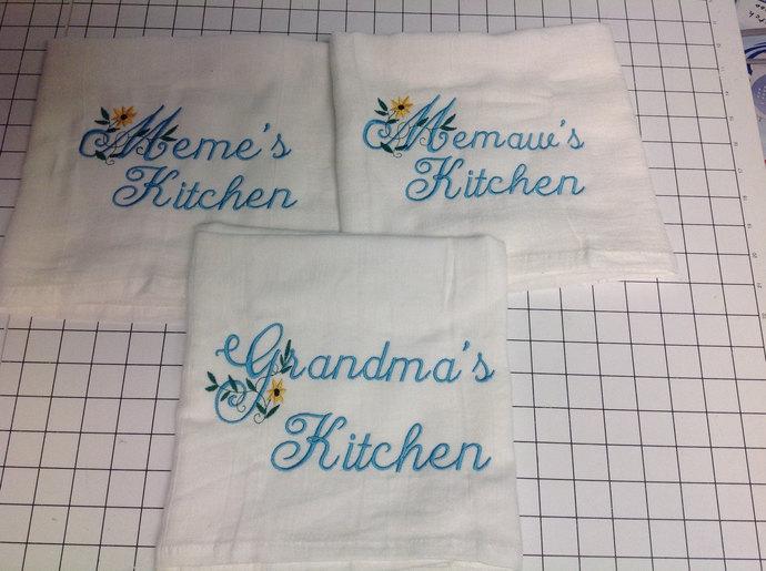 Personalized Kitchen towel, personalized, flour sack towel, grandma's kitchen,