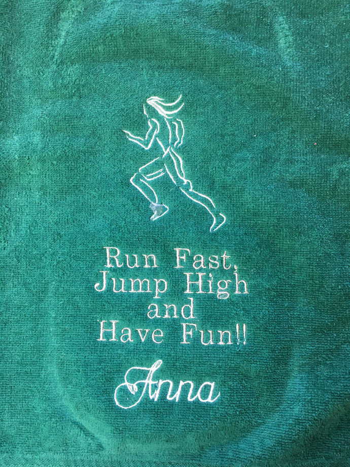 Personalized towel for track and field or running embroidered towel.