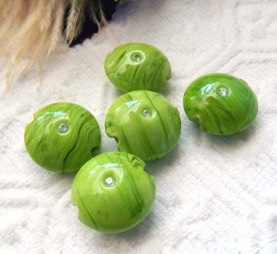 Sale.......Stunning Lime Green Swirl Lampwork Glass Lentil Beads with Swarovski