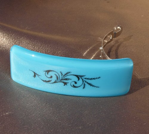Elegant Blue Fused Glass Barrette (93094F)