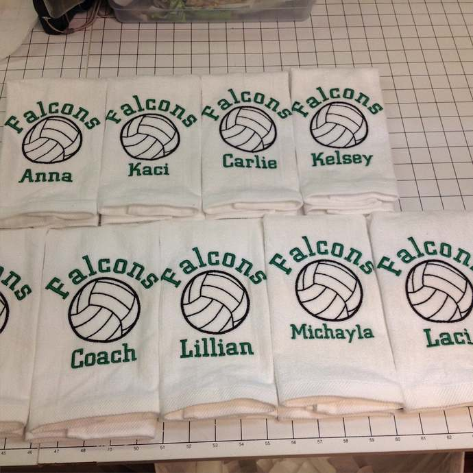 Custom Embroidered personalized Volleyball Towels, Volleyball, Personalized,