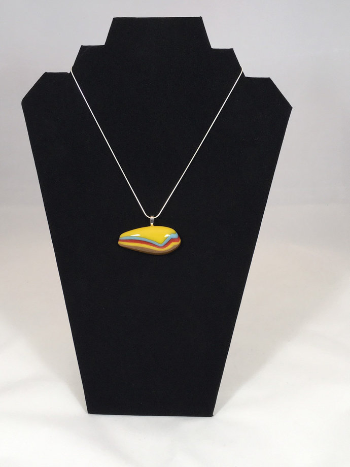 Fall colors Fused Glass Abstract pendant necklace